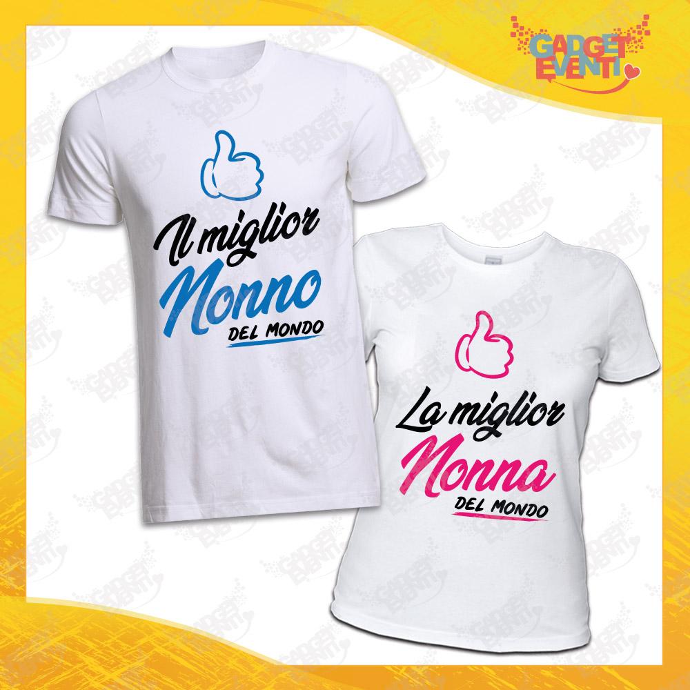 """Coppia Maglietta Uomo Donna Bianca """"Miglior e Nonno Nonna"""" Idea Regalo T-Shirt Festa dei Nonni Gadget Eventi"""