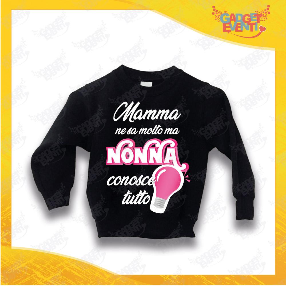 """Felpa Nera Bimba """"Nonna Conosce Tutto"""" grafica Fucsia Idea Regalo Maglione per l'inverno Festa dei Nonni Gadget Eventi"""