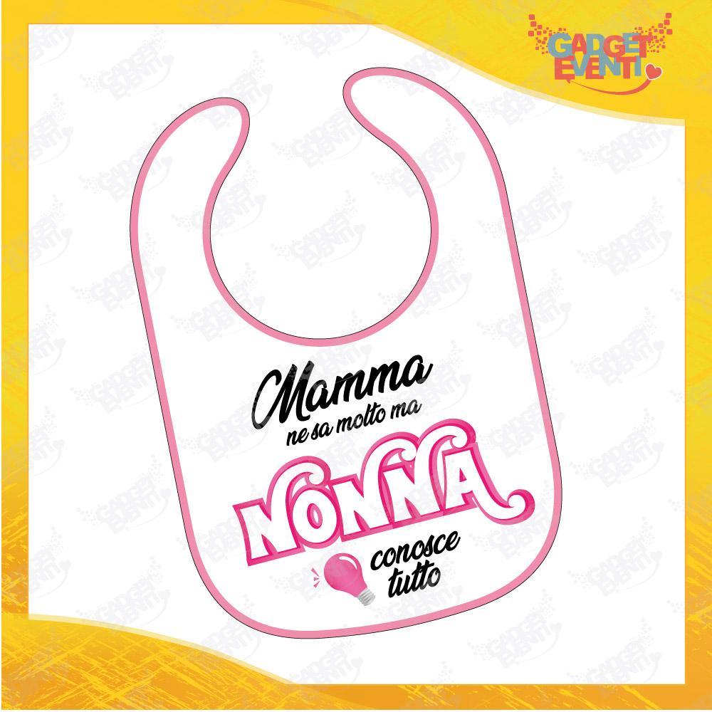 """Bavetto Grafica Rosa """"Nonna Conosce Tutto"""" Bavaglino Bimba Idea Regalo Festa dei Nonni Gadget Eventi"""
