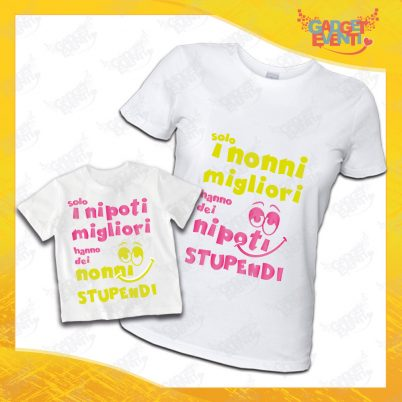 """Coppia di T-Shirt Donna Bimbo Bianche """"Nipoti Stupendi Per Nonna"""" grafica rosa Magliette divertenti per Nonna e Nipote Gadget Eventi"""