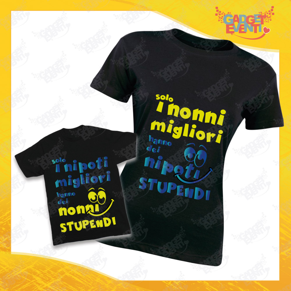 """Coppia di T-Shirt Donna Bimbo Nere """"Nipoti Stupendi Per Nonna"""" grafica azzurra Magliette divertenti per Nonna e Nipote Gadget Eventi"""