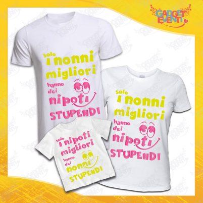 """Tris di T-Shirt Bianche """"Nipoti Stupendi"""" grafica rosa Magliette per Tutta la Famiglia Completo di Maglie Nonno Nonna Nipote Idea Regalo Gadget Eventi"""