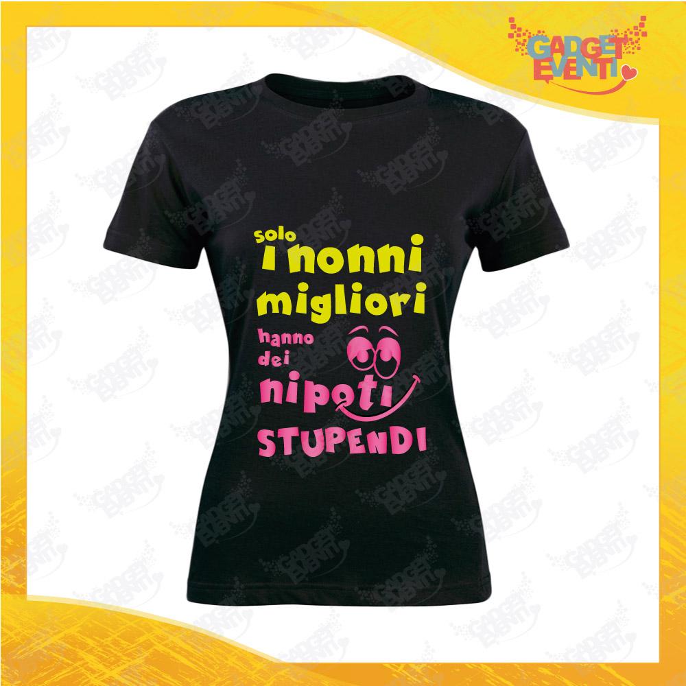 """Maglietta Donna Nera """"Nipoti Stupendi per Nonna"""" grafica rosa Idea Regalo Nonna T-Shirt Festa dei Nonni Gadget Eventi"""