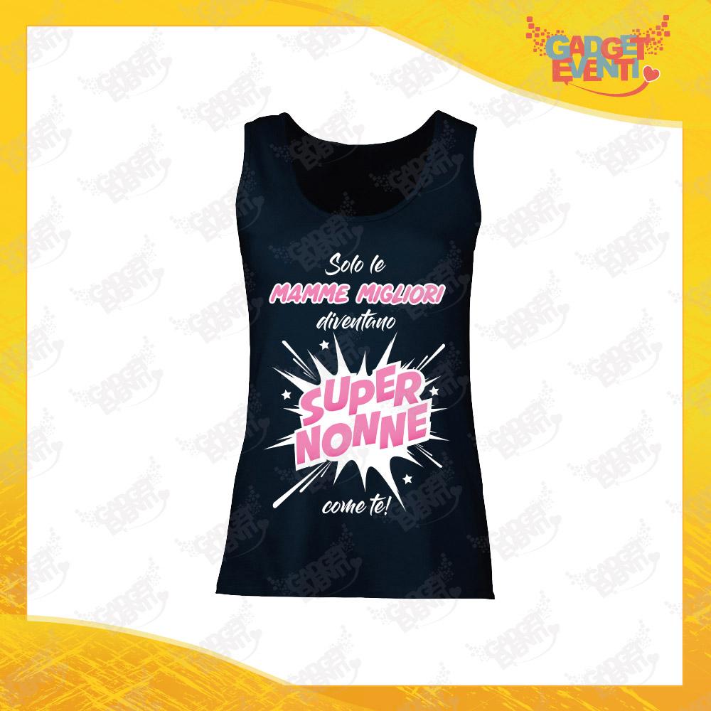 """Canotta Donna Nera """"Super Nonne"""" Top Maglietta per l'estate Smanicato Festa dei Nonni Gadget Eventi"""
