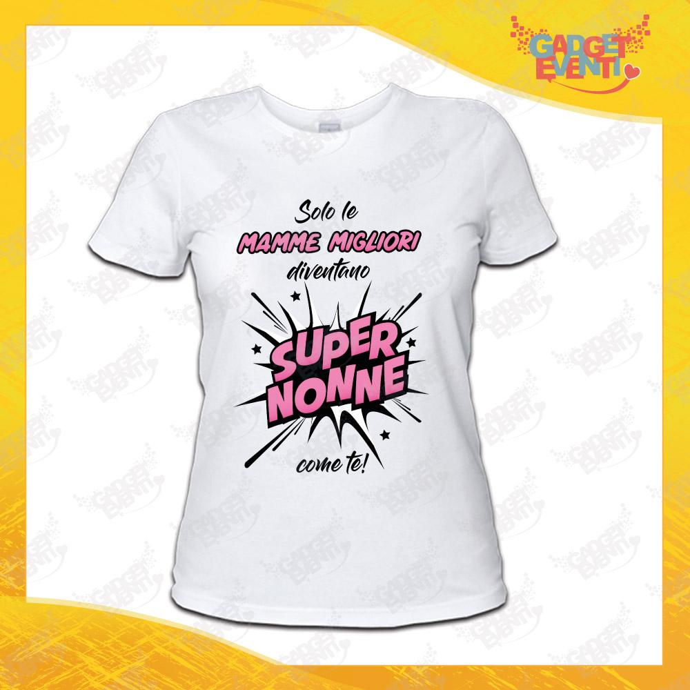 """Maglietta Donna Bianca """"Super Nonne"""" Idea Regalo Nonno T-Shirt Festa dei Nonni Gadget Eventi"""