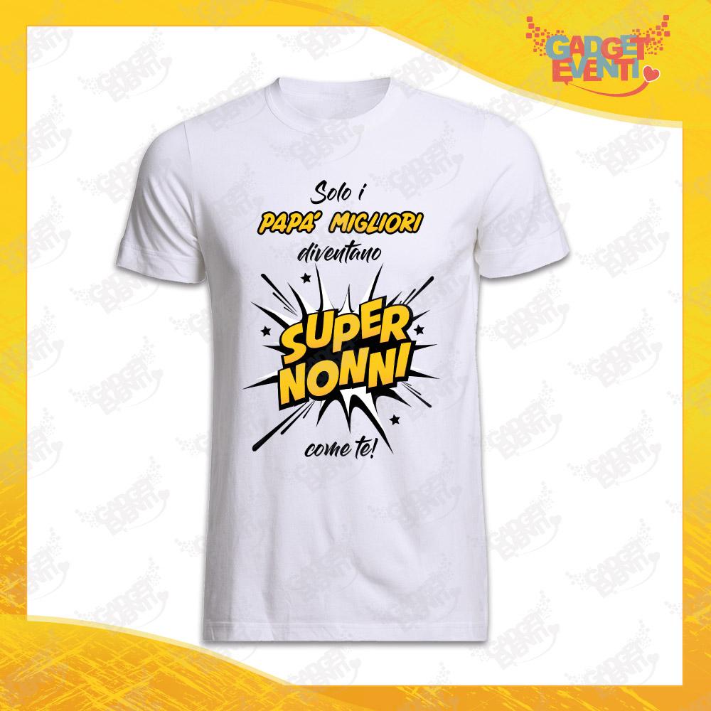 """Maglietta Uomo Bianca """"Super Nonni"""" Idea Regalo Nonno T-Shirt Festa dei Nonni Gadget Eventi"""