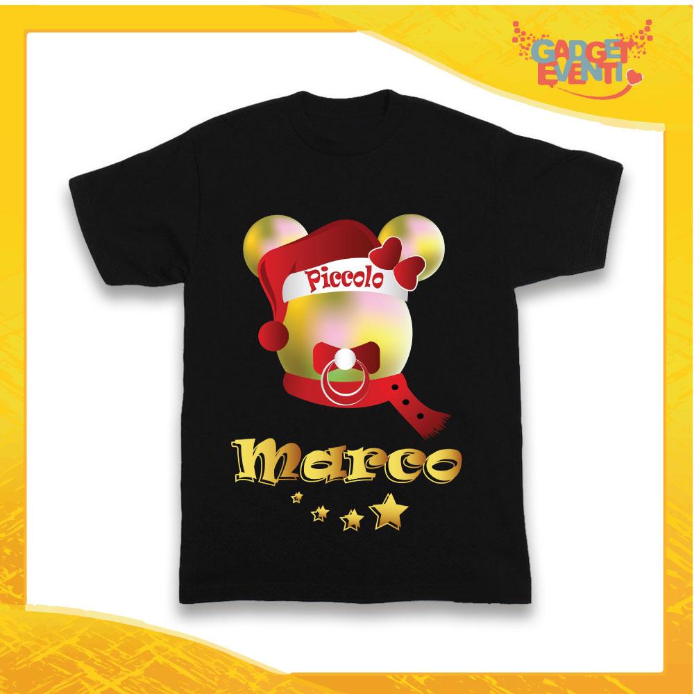 """T-Shirt Bimbo Nera Maglietta """"Topolino Natale Con Nome"""" grafica Multicolore Gadget Eventi"""