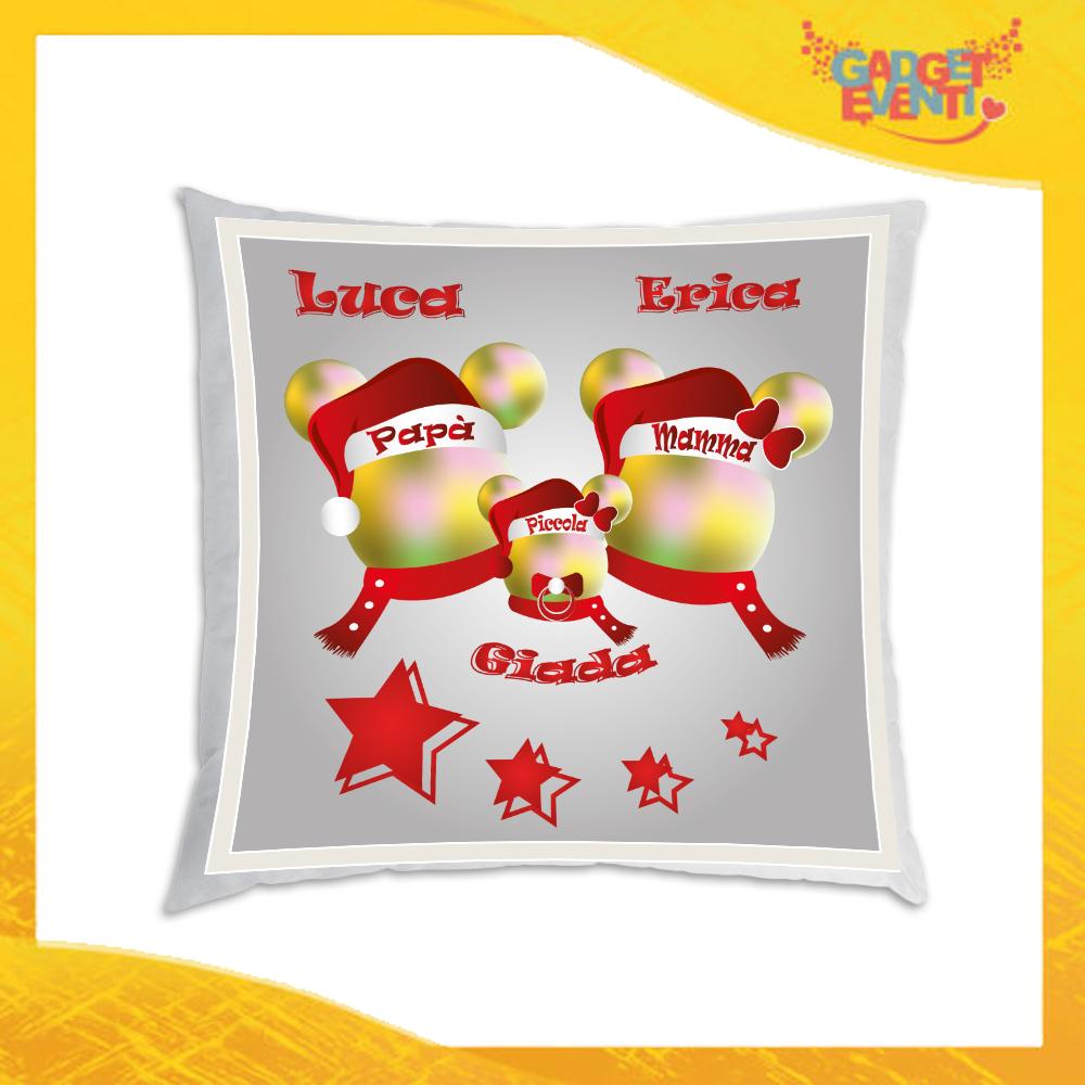 """Cuscino Natalizio Personalizzato con Grafica aRGENTO """"Topolino Natale Con Nomi"""" Arredamento poltrone Divani e Letto Idea Regalo Cuscini Natalizi Gadget Eventi"""