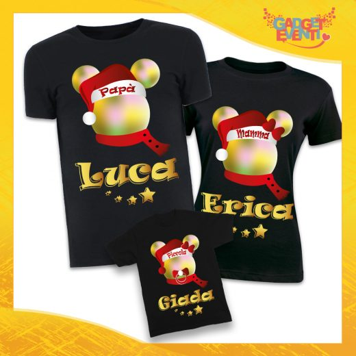 """Tris di T-Shirt Nere """"Topolino Natale Con Nomi"""" grafica Multicolore Magliette per Tutta la Famiglia Completo di Maglie Papà Mamma Figlio Figlia Idea Regalo Gadget Eventi"""