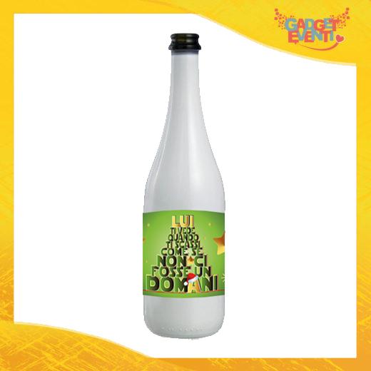 """Bottiglia da Vino Natalizia 75 ml Personalizzata """"Lui Ti Vede.."""" grafica Verde Idea Regalo per Festa di Natale Gadget Eventi"""