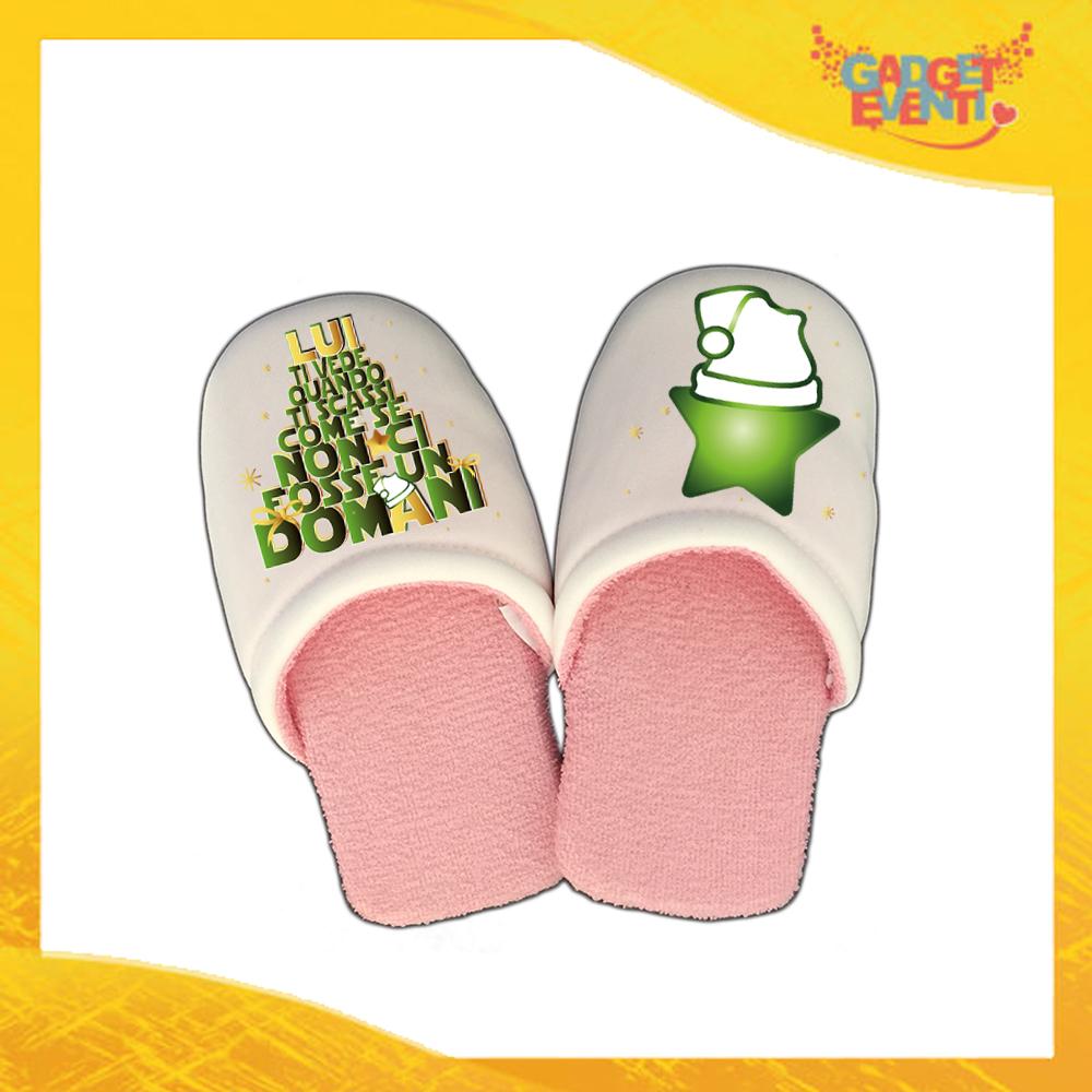 """Pantofole Donna Natalizie Personalizzate """"Lui Ti Vede.."""" Grafica Verde Idea Regalo Gadget Eventi"""