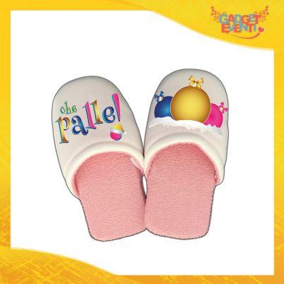 """Pantofole Donna Natalizie Personalizzate """"Che Palle"""" Grafica Multicolore Idea Regalo Gadget Eventi"""