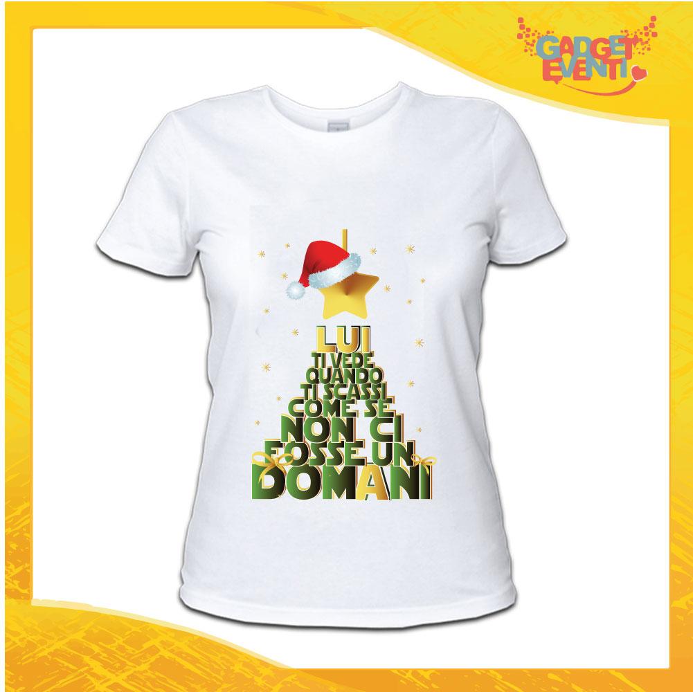 """T-Shirt Donna Natalizia Bianca """"Lui Ti Vede.."""" grafica Verde Maglietta per l'inverno Maglia Natalizia Idea Regalo Gadget Eventi"""