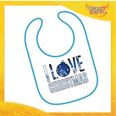 """Bavetto Natalizio Personalizzato Grafica Blu """"I Love Christmas"""" Bavaglino Bimbo bordo Blu Idea Regalo Originale per Natale Bimbi Bambini Neonati Gadget Eventi"""