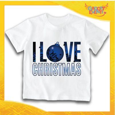 """T-Shirt Bimbo Bianca Maglietta """"I Love Christmas"""" grafica Blu Gadget Eventi"""