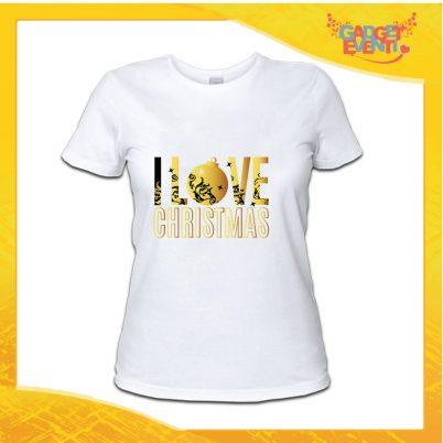 """T-Shirt Donna Natalizia Bianca """"I Love Christmas"""" grafica Oro Maglietta per l'inverno Maglia Natalizia Idea Regalo Gadget Eventi"""