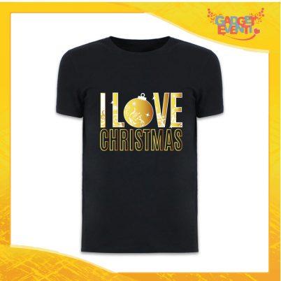 """T-Shirt Uomo Natalizia Nera """"I Love Christmas"""" grafica Oro Maglietta per l'inverno Maglia Natalizia Idea Regalo Gadget Eventi"""