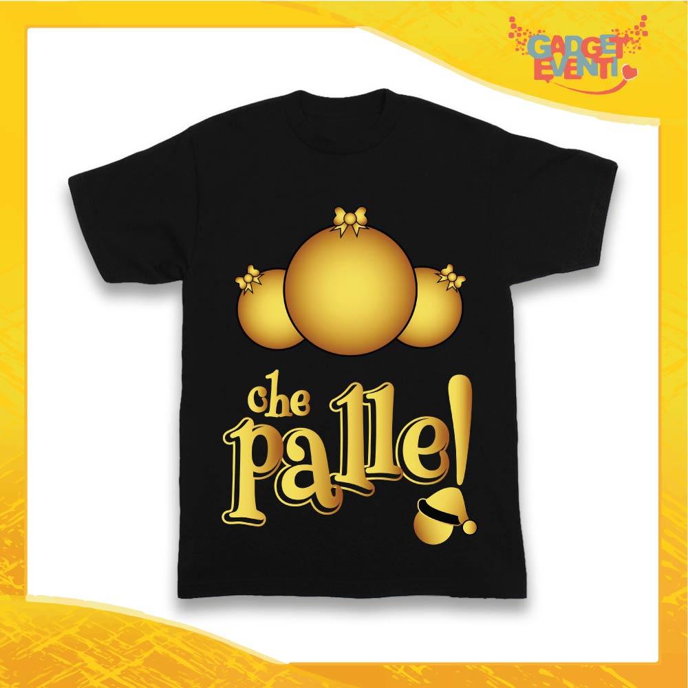 """T-Shirt Bimbo Maglietta Nera """"Che Palle"""" grafica Oro Gadget Eventi"""
