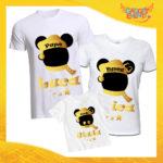 """Tris di T-Shirt Bianche """"Topolino Natale Con Nomi"""" grafica Oro Magliette per Tutta la Famiglia Completo di Maglie Papà Mamma Figlio Figlia Idea Regalo Gadget Eventi"""