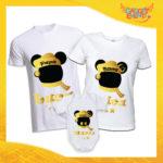 """Tris di T-Shirt con Body Bianche """"Topolino Natale Con Nomi"""" grafica Oro Magliette per Tutta la Famiglia Completo di Maglie Papà Mamma Figlio Figlia Idea Regalo Gadget Eventi"""
