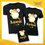 """Tris di T-Shirt Nere """"Topolino Natale Con Nomi"""" grafica Oro Magliette per Tutta la Famiglia Completo di Maglie Papà Mamma Figlio Figlia Idea Regalo Gadget Eventi"""