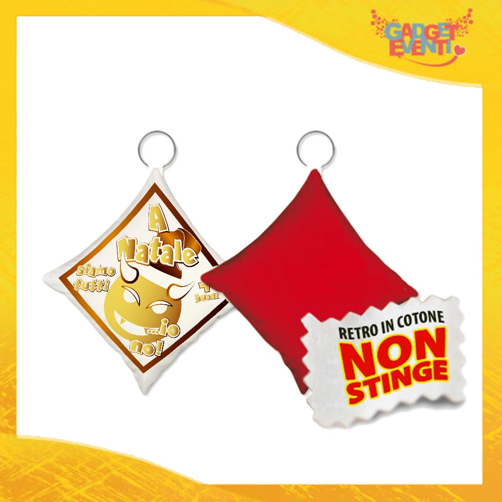 """Mini Cuscino Natalizio Personalizzato Retro Rosso Grafica Oro """"A Natale Siamo Tutti Più Buoni"""" Mini Federa Natalizia Idea Regalo Gadget Eventi"""