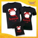 """Tris di T-Shirt Nere """"Topolino Natale Con Nomi"""" grafica Rossa Magliette per Tutta la Famiglia Completo di Maglie Papà Mamma Figlio Figlia Idea Regalo Gadget Eventi"""
