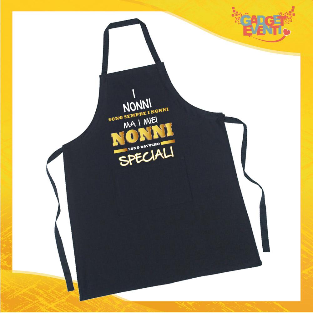 """Grembiule da Cucina Nero """"Nonni Speciali"""" grafica oro Ristorazione Idea Regalo per settore alimentare Gadget Eventi"""