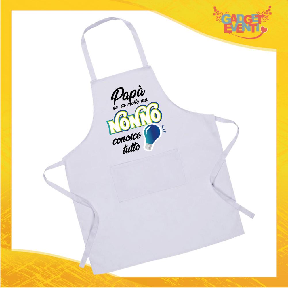 """Grembiule da Cucina Bianco """"Nonno Conosce Tutto"""" grafica azzurra Ristorazione Idea Regalo per settore alimentare Gadget Eventi"""