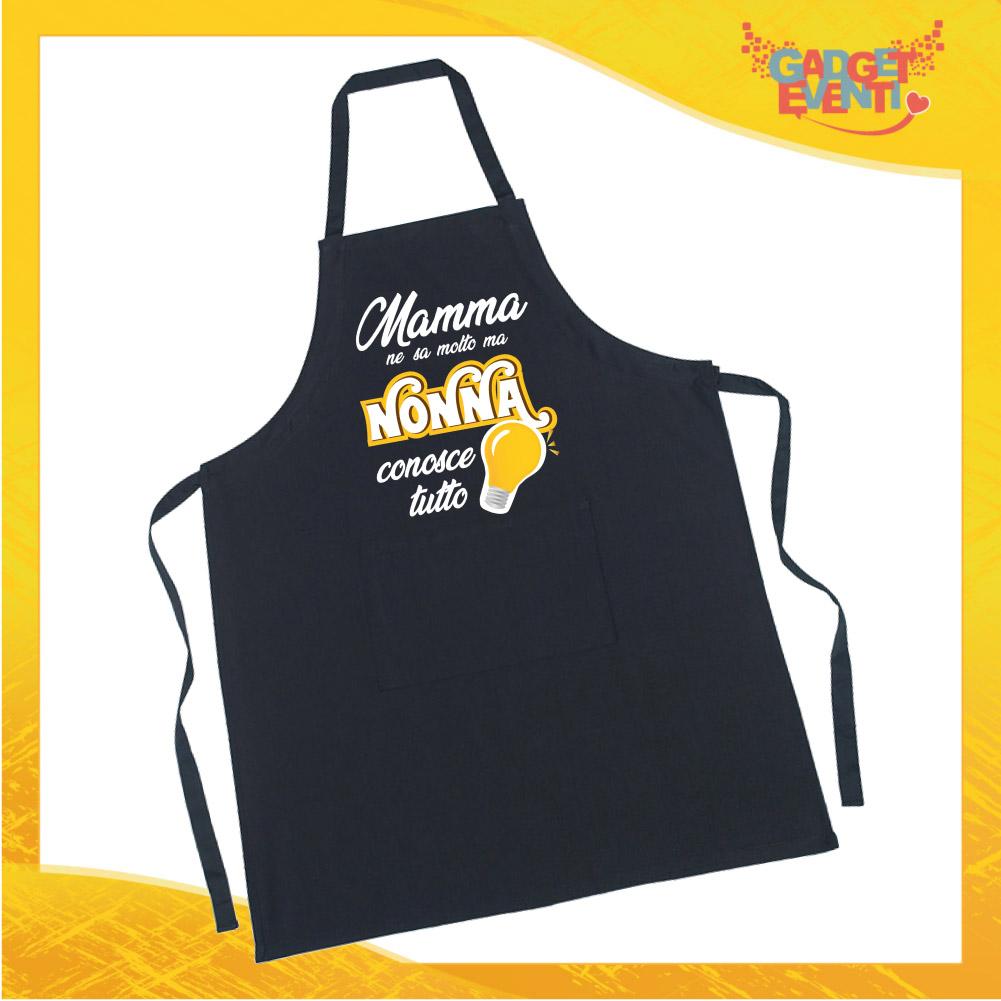 """Grembiule da Cucina Nero """"Nonna Conosce Tutto"""" grafica gialla Ristorazione Idea Regalo per settore alimentare Gadget Eventi"""