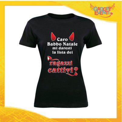 """T-Shirt Donna Natalizia Nera """"Lista dei Ragazzi Cattivi"""" grafica Bianca Maglietta per l'inverno Maglia Natalizia Idea Regalo Gadget Eventi"""