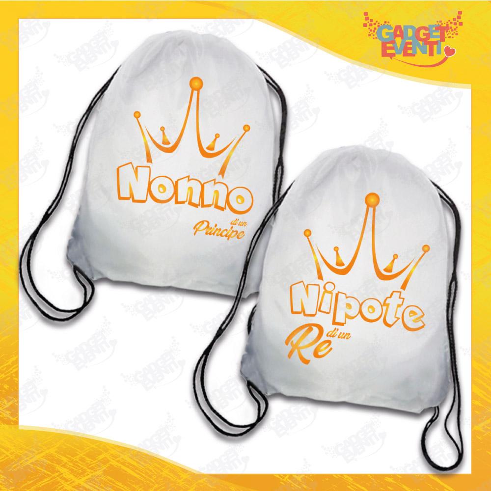 """Coppia Sacche Sport Personalizzate """"Nonno/Nipote di Un Principe e re"""" grafica arancione Idea Regalo Gadget Eventi"""