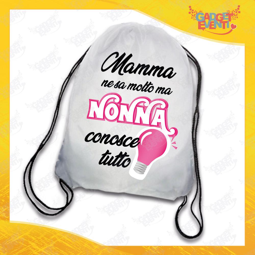 """Sacca Sport Donna Personalizzata """"Nonna Conosce Tutto"""" grafica rosa Idea Regalo Gadget Eventi"""