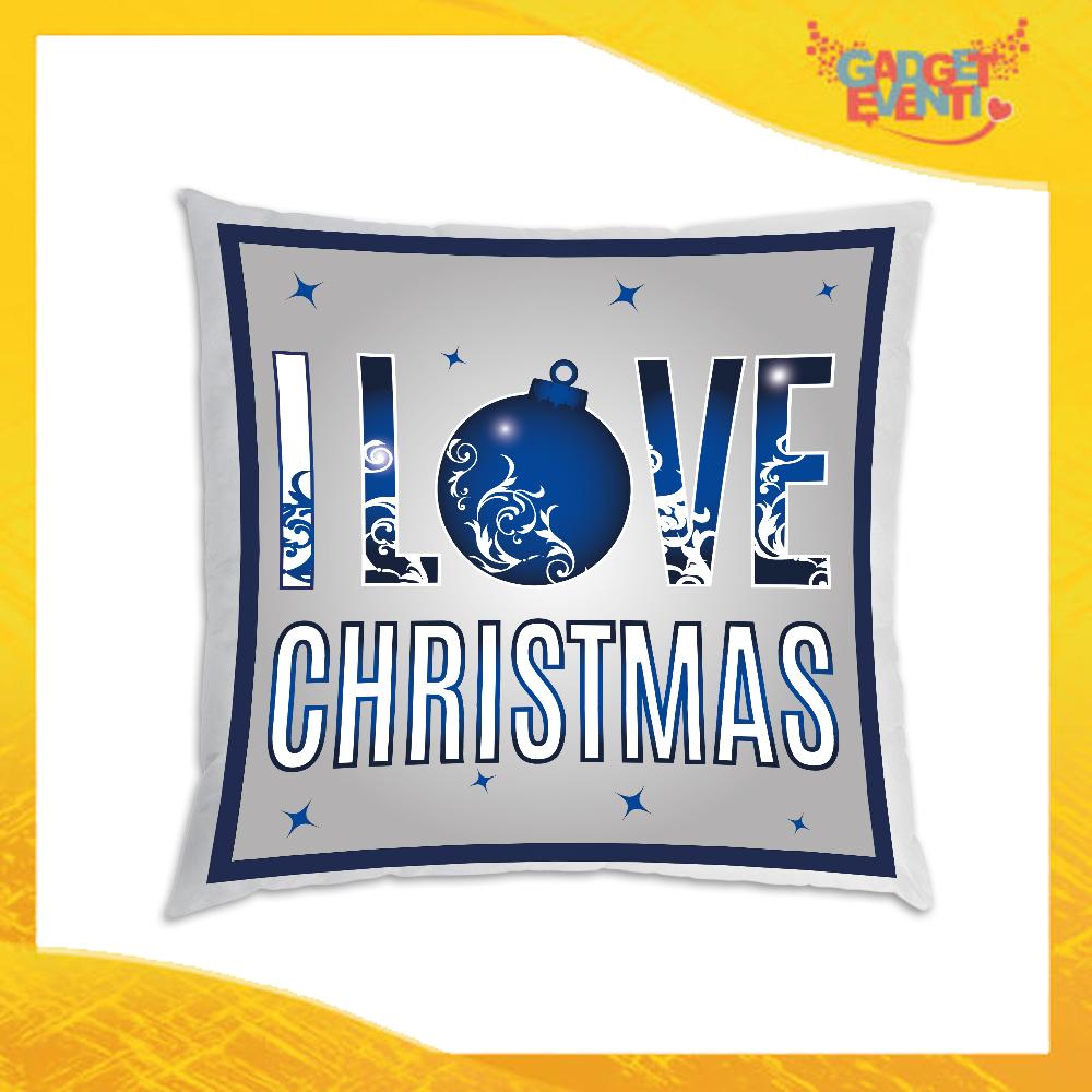 """Cuscino Natalizio Personalizzato con Grafica Blu """"I Love Christmas"""" Arredamento poltrone Divani e Letto Idea Regalo Cuscini Natalizi Gadget Eventi"""