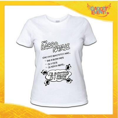 """T-Shirt Donna Natalizia Bianca """"Sono Stato Bravo Tutto l'Anno"""" grafica Nera Maglietta per l'inverno Maglia Natalizia Idea Regalo Gadget Eventi"""