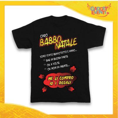 """T-Shirt Bimbo Nera Maglietta """"Sono Stato Bravo Tutto l'Anno"""" grafica Rossa Gadget Eventi"""