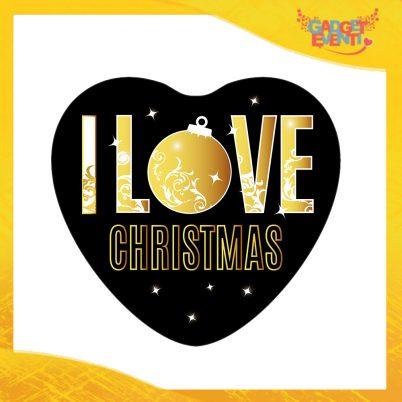 """Mouse Pad a Cuore Natalizio Grafica Oro """"I Love Christmas"""" tappetino pc ufficio idea regalo festa di Natale gadget eventi"""