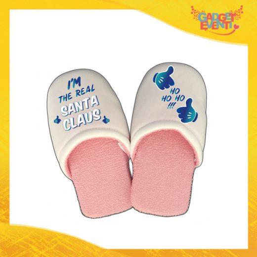"""Pantofole Donna Natalizie Personalizzate """"Real Santa Claus"""" Grafica Blu Idea Regalo Gadget Eventi"""