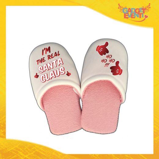 """Pantofole Donna Natalizie Personalizzate """"Real Santa Claus"""" Grafica Rossa Idea Regalo Gadget Eventi"""