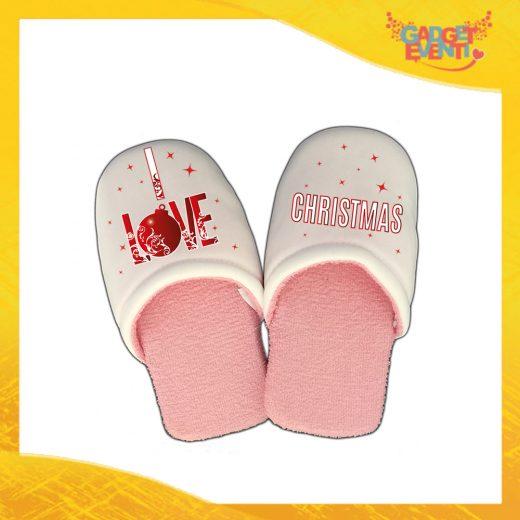 """Pantofole Donna Natalizie Personalizzate """"I Love Christmas"""" Idea Regalo Gadget Eventi"""