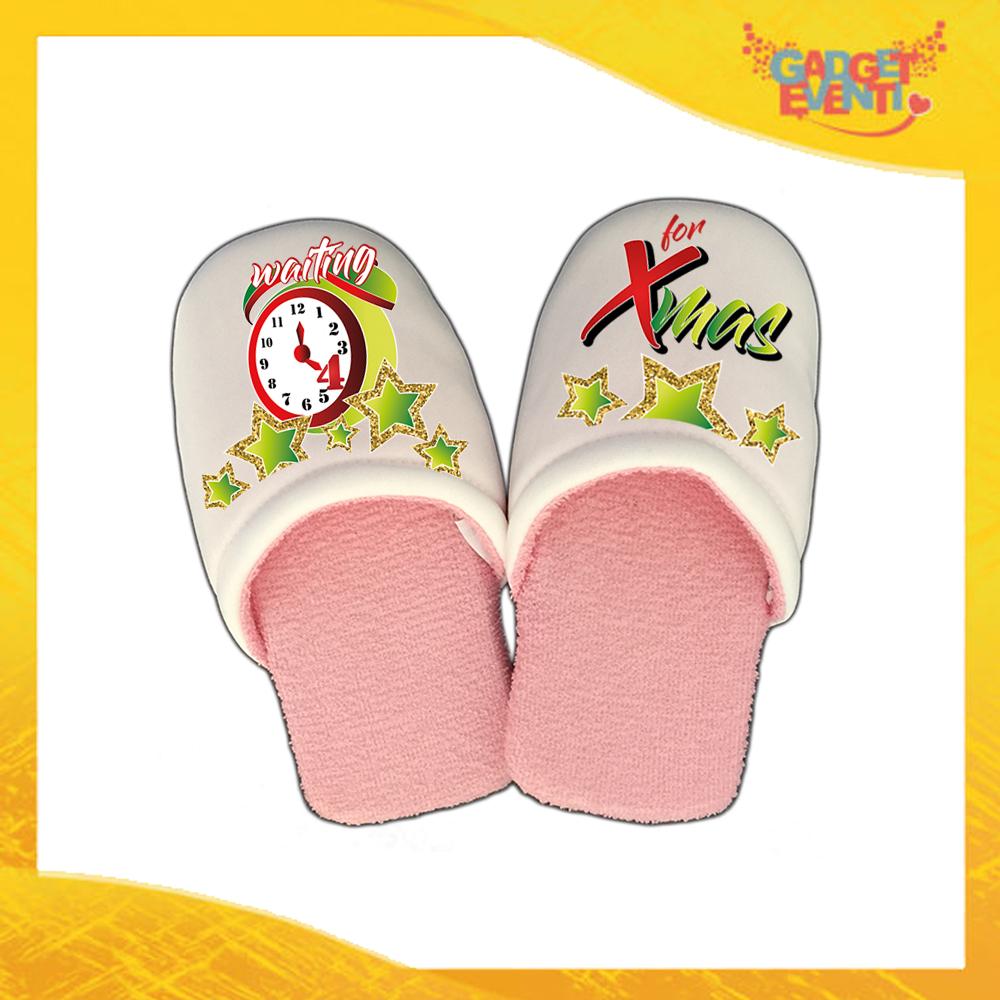 "Pantofole Donna Natalizie Personalizzate ""Waiting For Xmas"" grafica Verde Idea Regalo Gadget Eventi"