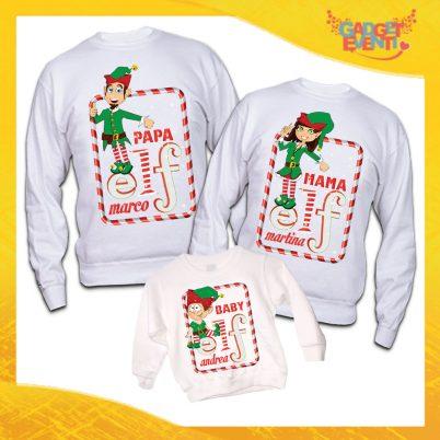 """Tris di Felpe Bianche """"Elf Family Con Nomi"""" Maglie per Tutta la Famiglia Completo di Maglie Papà Mamma Figlio Figlia Idea Regalo Gadget Eventi"""