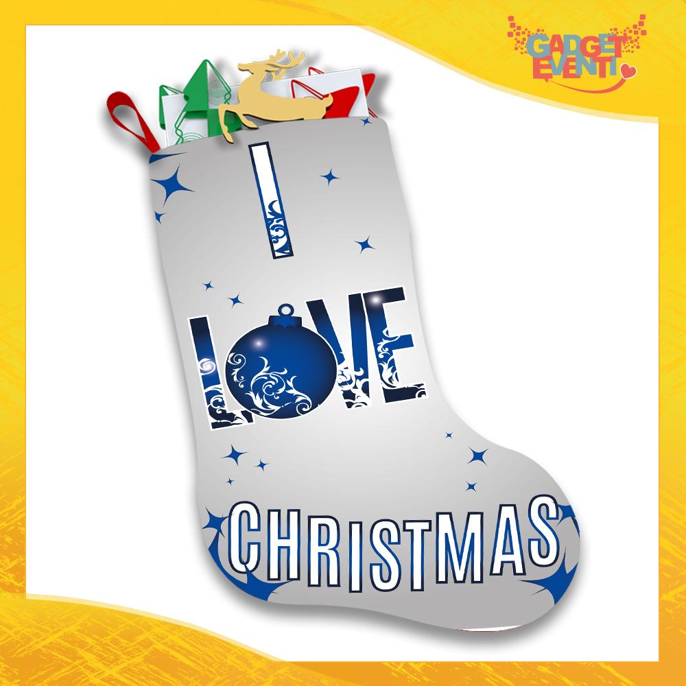 """Calza Natalizia Addobbo Personalizzata """"I Love Christmas"""" grafica Blu Gadget Eventi"""