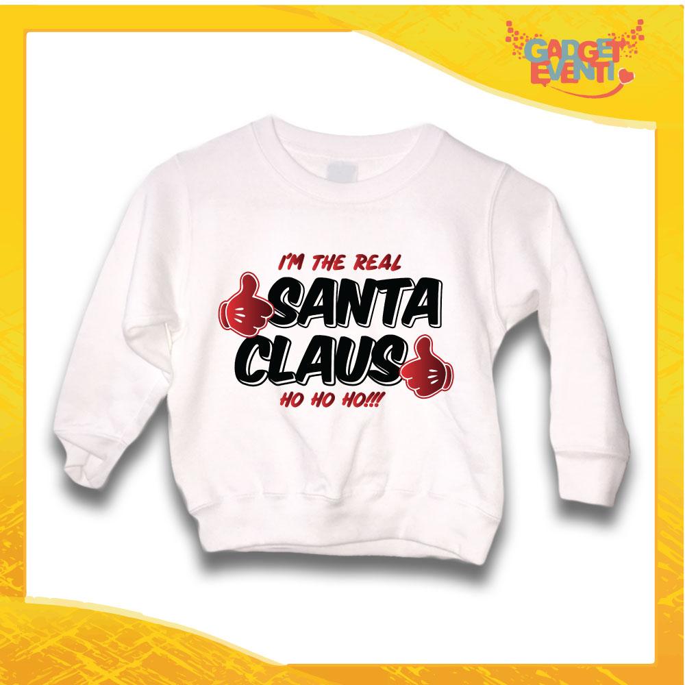 "Felpa Bianca Bimbo Natalizia Bambino ""Real Santa Claus"" grafica Nera Gadget Eventi"