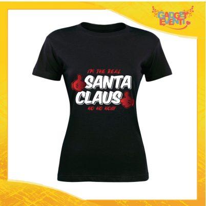 """T-Shirt Donna Natalizia Nera """"Real Santa Claus"""" grafica Bianca Maglietta per l'inverno Maglia Natalizia Idea Regalo Gadget Eventi"""