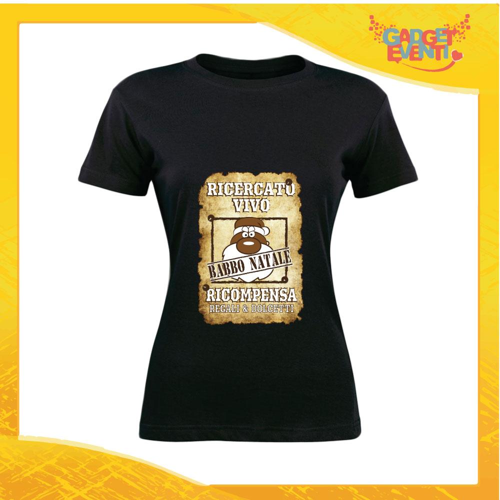 """T-Shirt Donna Natalizia Nera """"Babbo Natale Ricercato"""" grafica Sabbia Maglietta per l'inverno Maglia Natalizia Idea Regalo Gadget Eventi"""