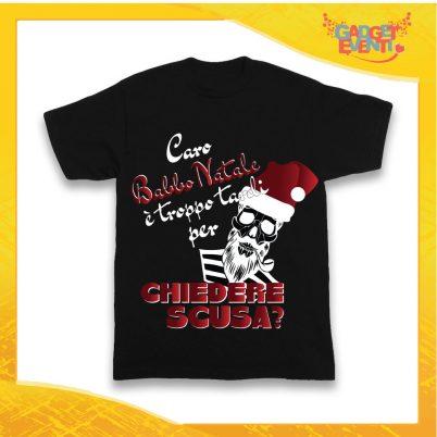 """T-Shirt Bimbo Nera Maglietta """"Caro Babbo Natale..."""" grafica Rossa Gadget Eventi"""
