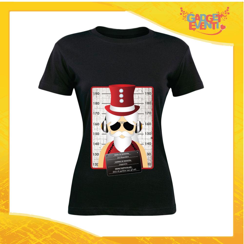 """T-Shirt Donna Natalizia Nera """"Fotosegnaletica Babbo Natale"""" grafica Rossa Maglietta per l'inverno Maglia Natalizia Idea Regalo Gadget Eventi"""