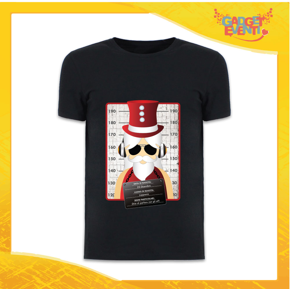 """T-Shirt Uomo Natalizia Nera """"Fotosegnaletica Babbo Natale"""" grafica Rossa Maglietta per l'inverno Maglia Natalizia Idea Regalo Gadget Eventi"""