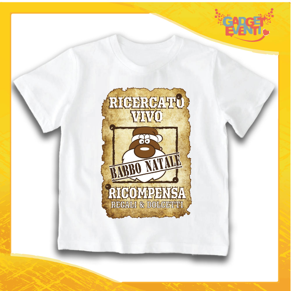 "T-Shirt Bimbo Bianca Maglietta ""Babbo Natale Ricercato"" grafica Sabbia Gadget Eventi"